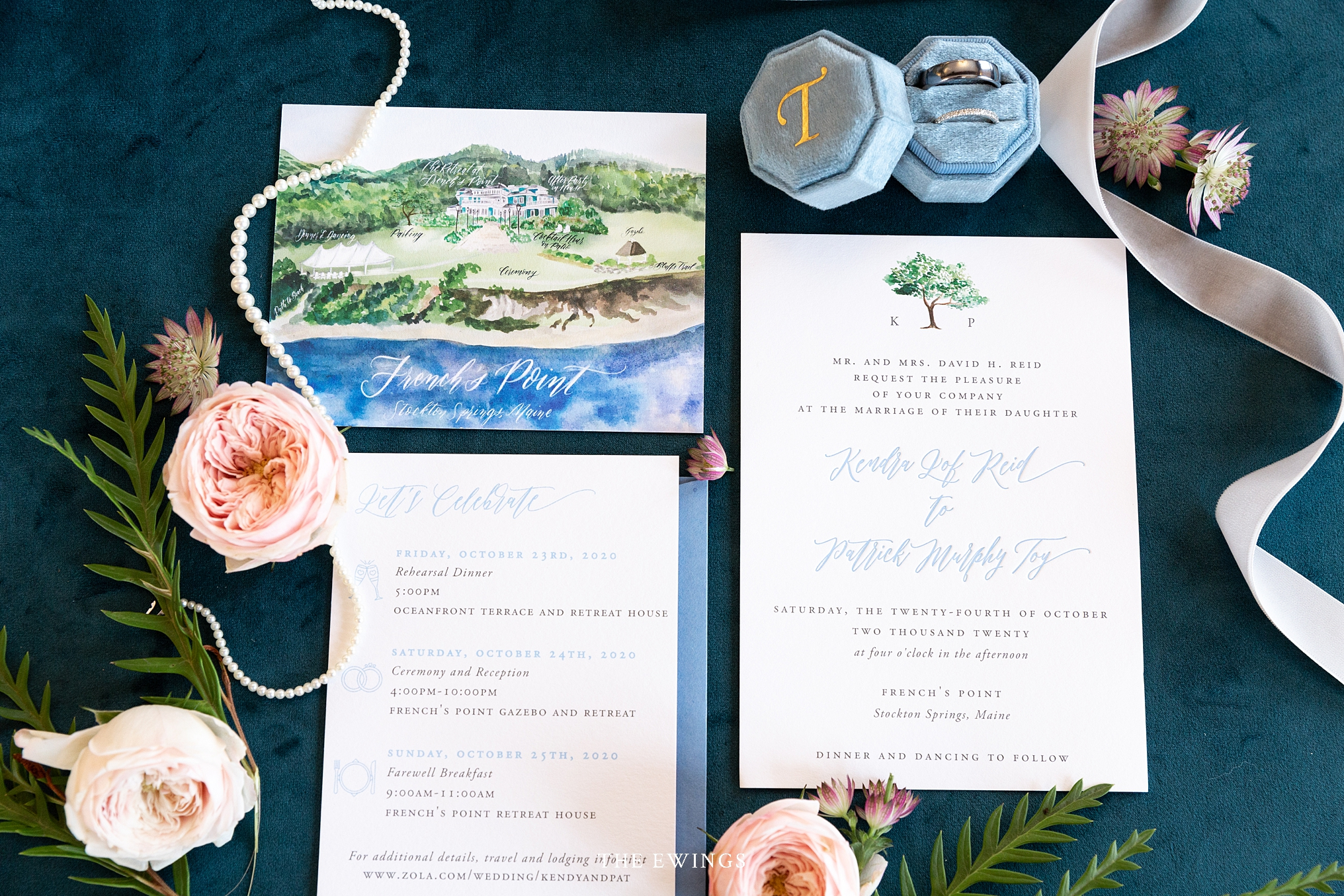 This is an invitation suite for a misstate coastal Maine wedding at French's Point just outside of Bar Harbor.