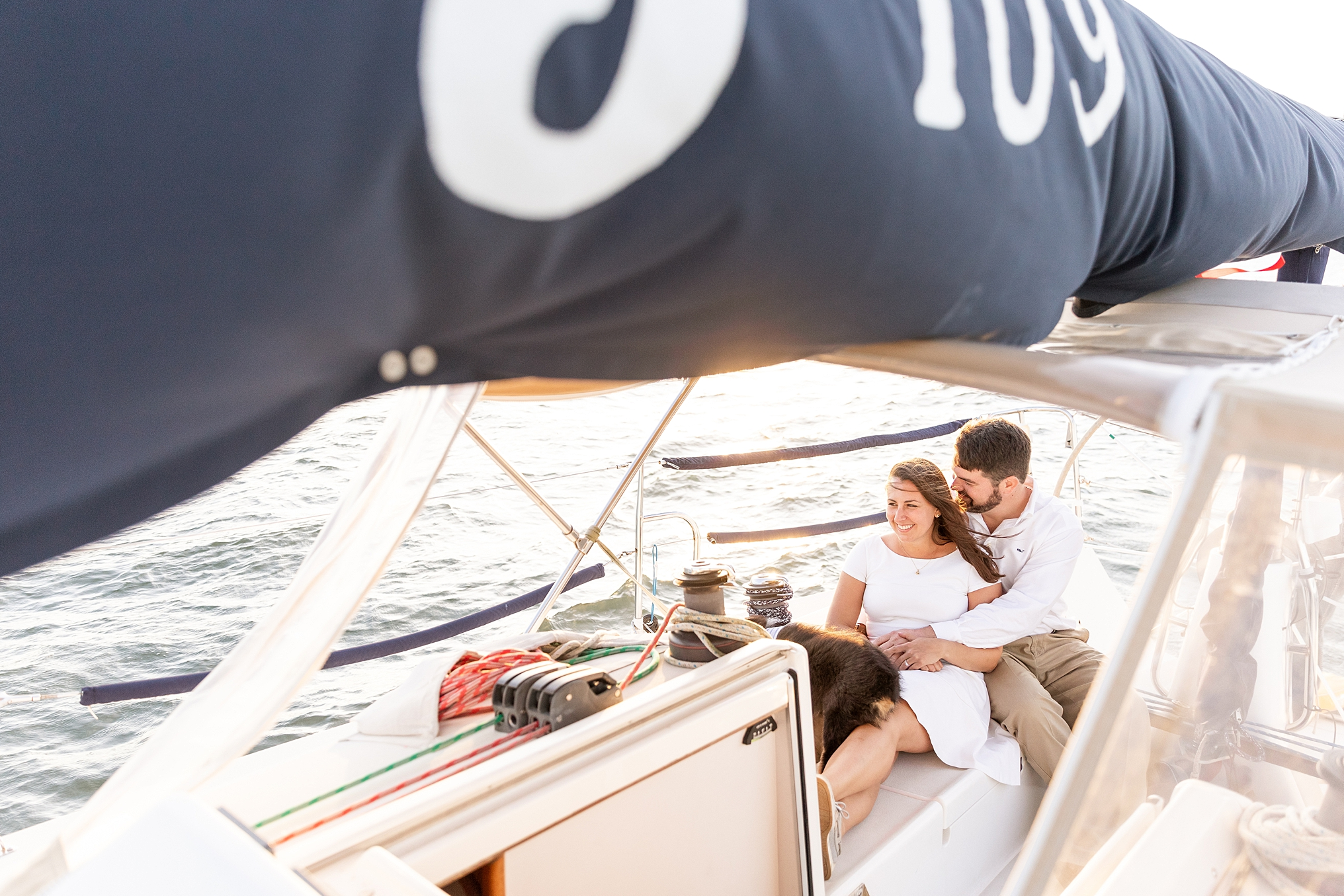 This is a sailboat engagement session on the Long Island Sound by CT Wedding Photographer and Videographers The Ewings