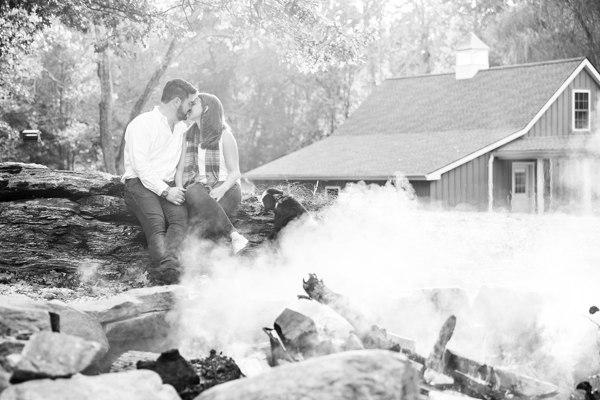 A cute fall backyard engagement session by Lyme CT wedding photographer and videographer team The Ewings Photography Studio.
