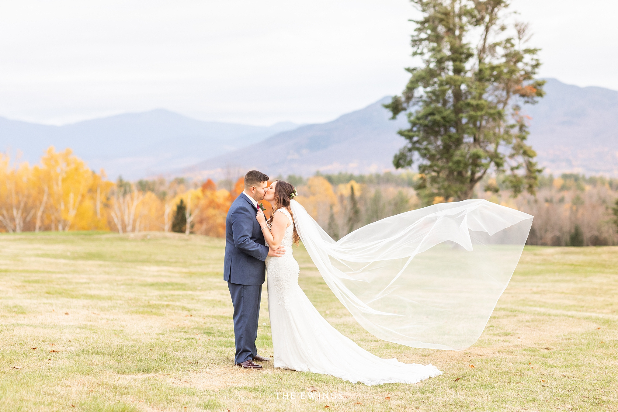 A bride and groom after their wedding at Mountainview grand in the white mountains of upstate new Hampshire.