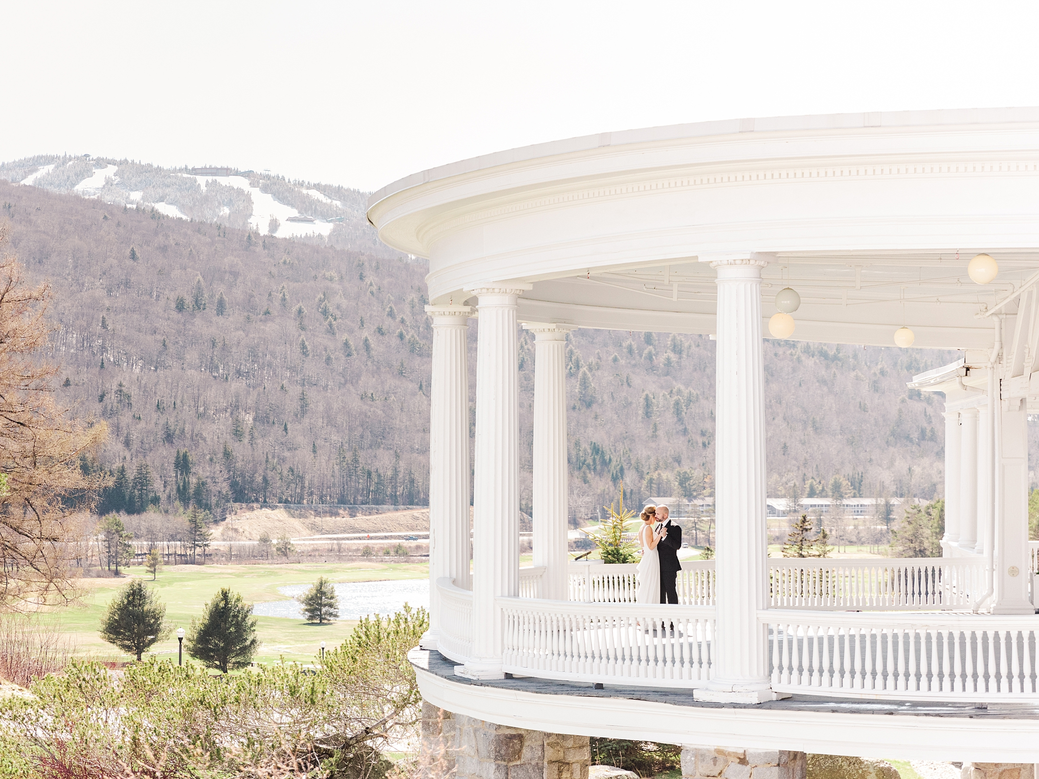A bride and groom at their Mount Washington Resort wedding in the Spring.