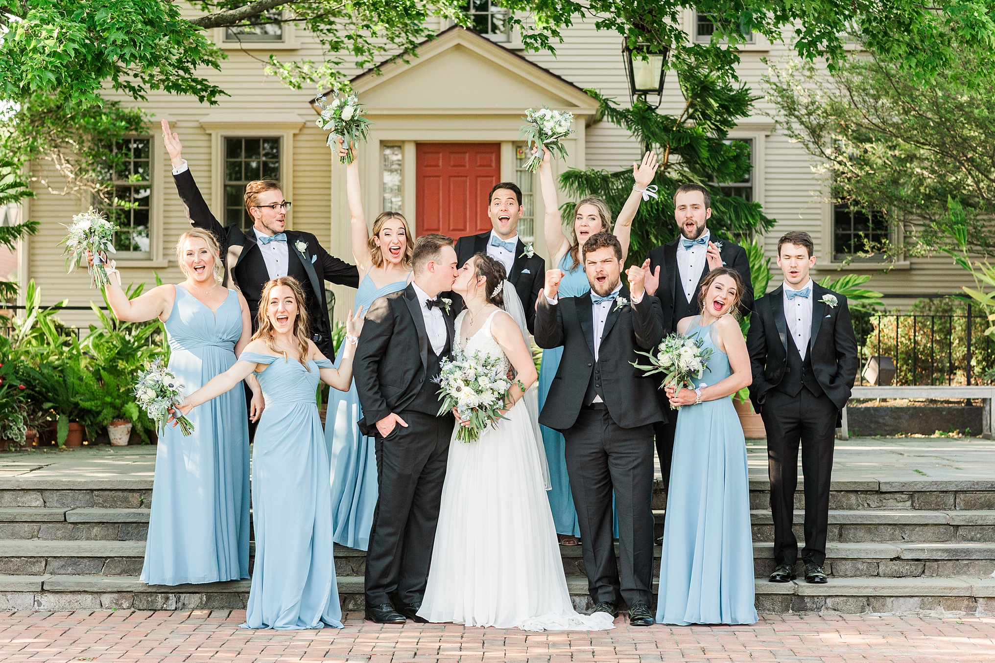 Greek wedding party pictures at Tower Hill botanic garden, a beautiful estate wedding venue in Central Massachusetts.