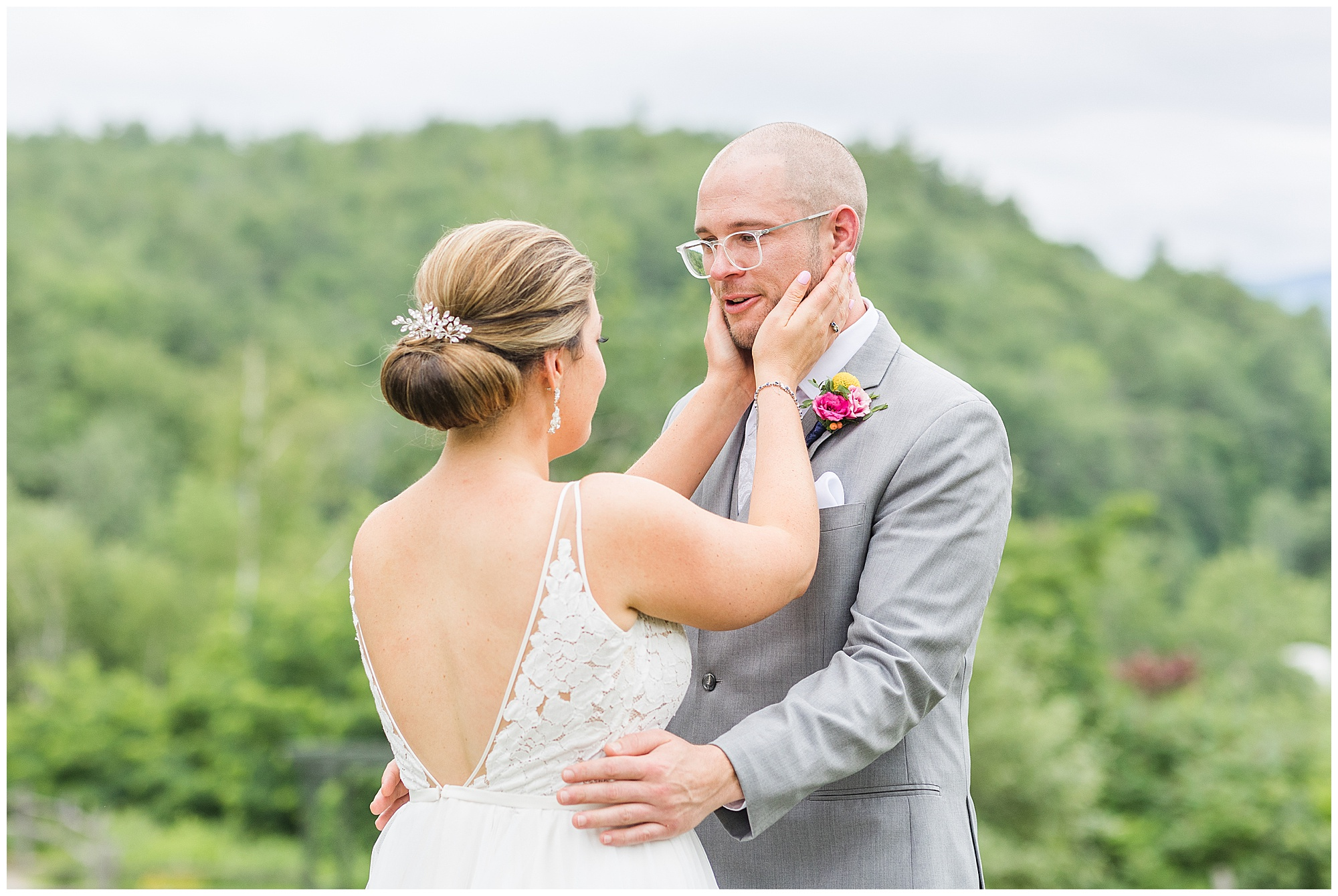 First look wedding white mountains NH The Ewings Photography