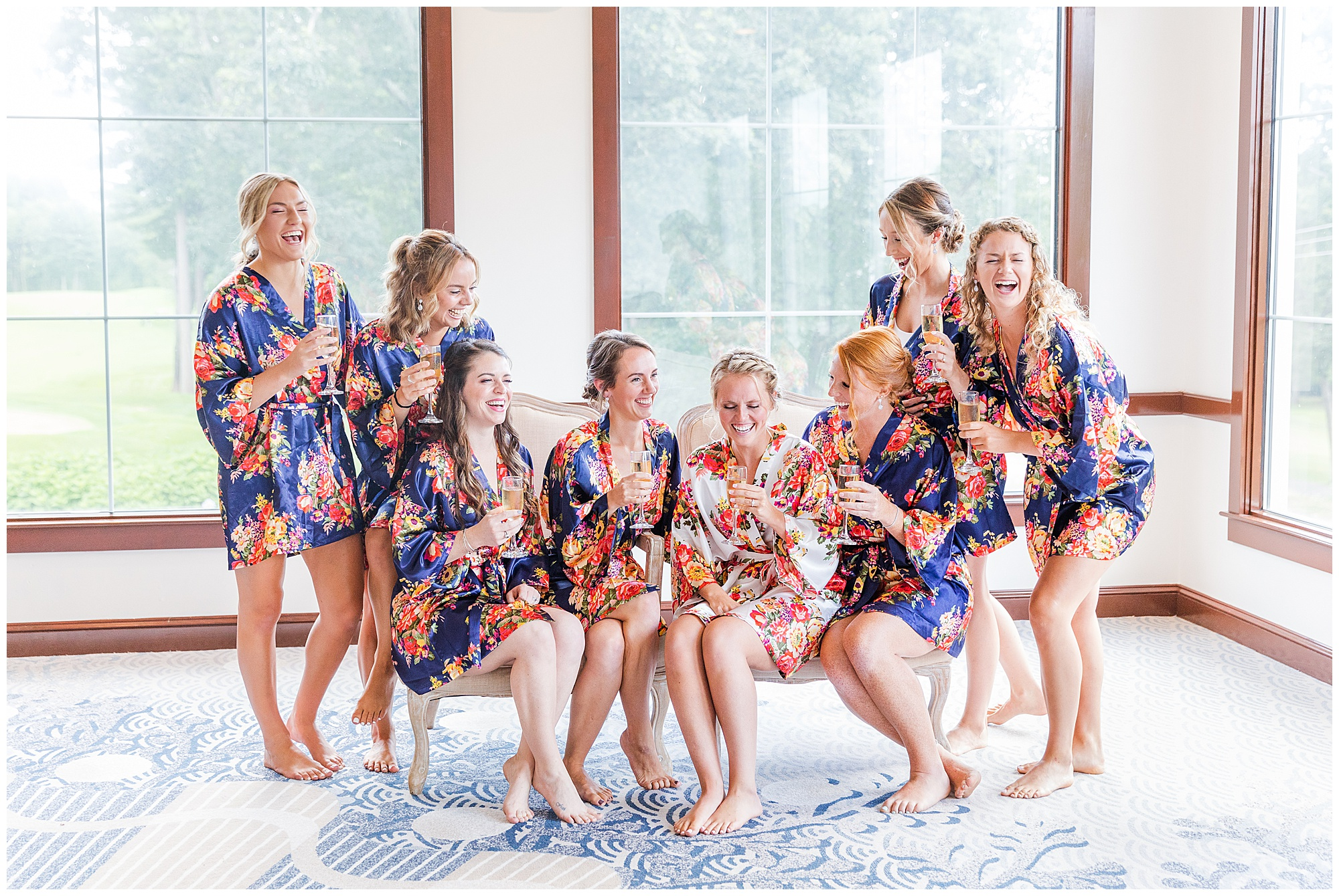 bride and bridesmaids fun getting ready central mass wedding