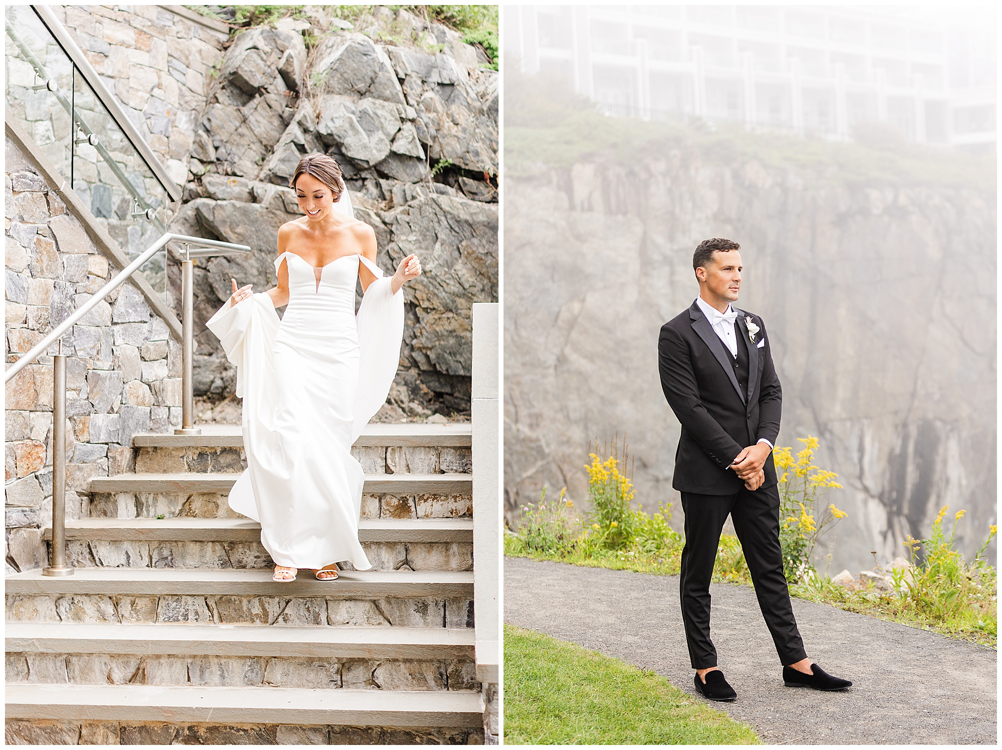 first look cliff house Maine photographer videographer