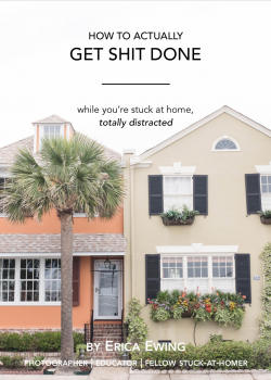 This is the cover of a productivity guide for photographers and creative business owners to help them get more accomplished in the day with three actionable tips by educator Erica Ewing of The Ewings Photography Studio in the greater Boston area.