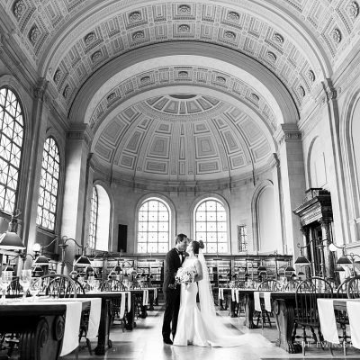Bates Hall at the Boston Public Library is set for an elegant black tie wedding.
